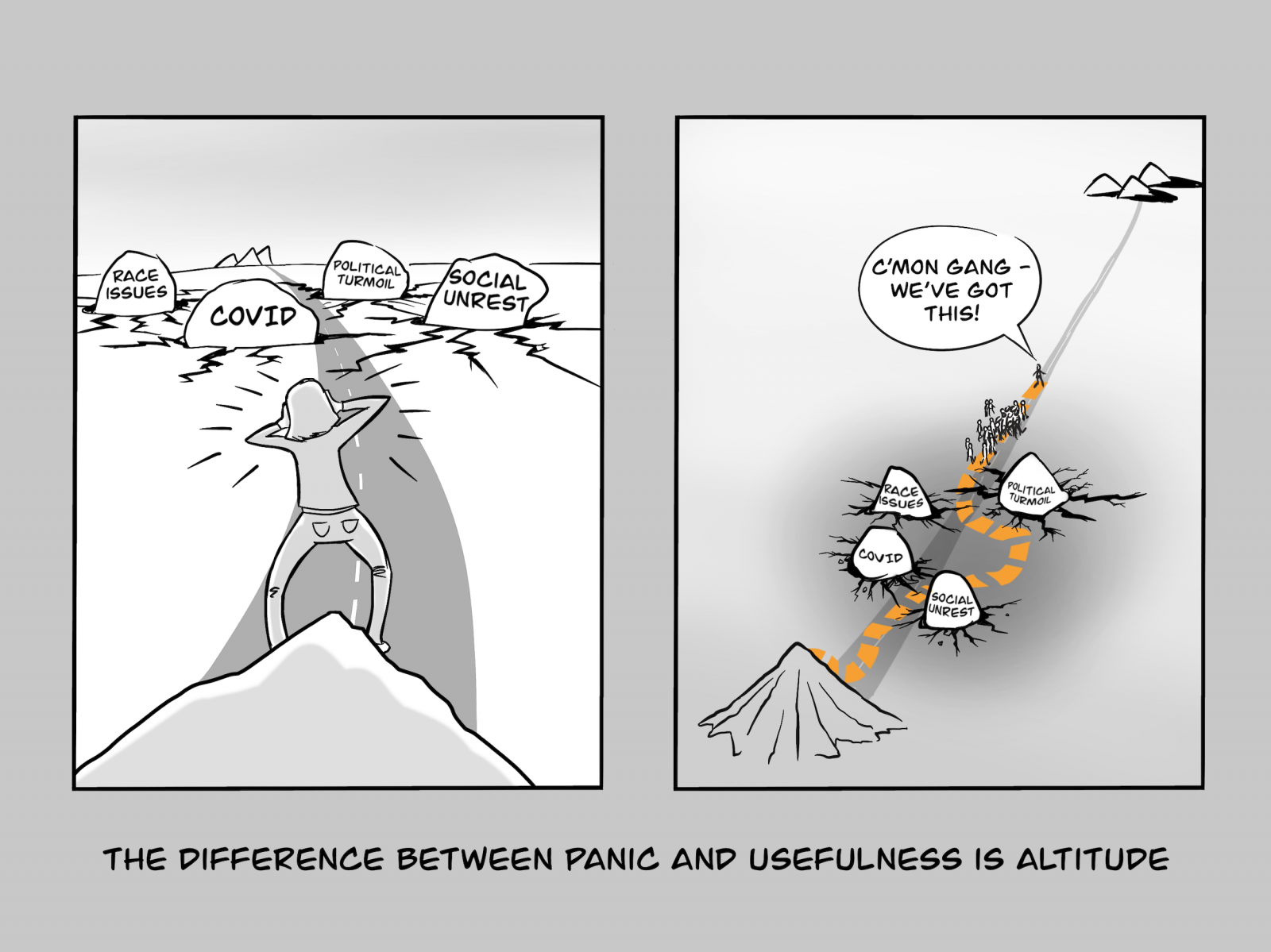 The difference between panic and usefulness is altitude