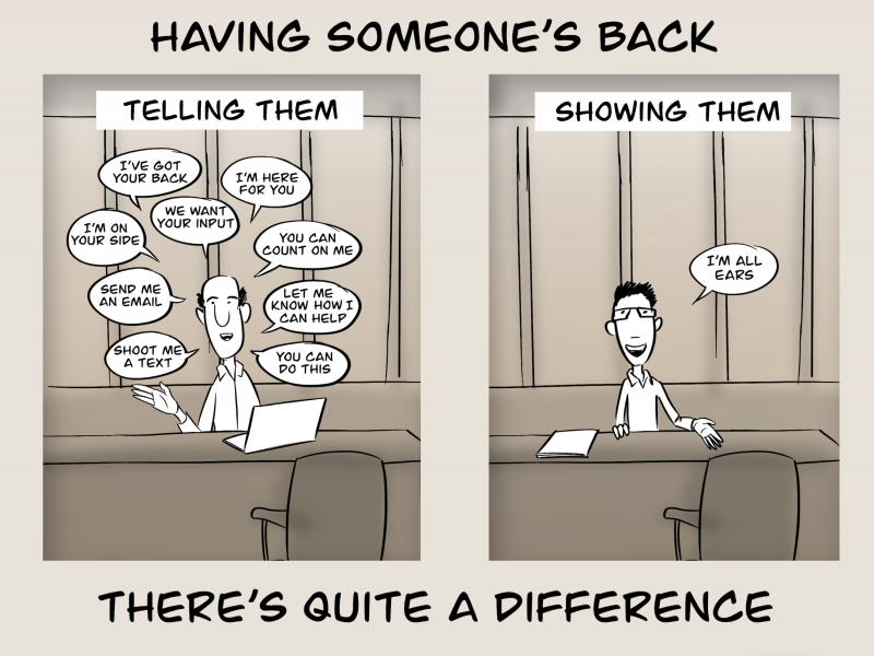 Having someone's back - there's a difference between telling them and showing them